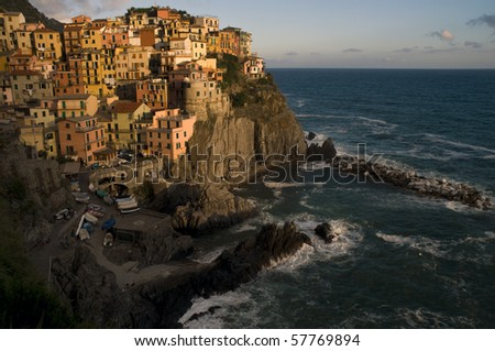 Village of Manarola at sunset, Cinque Terre, Italy