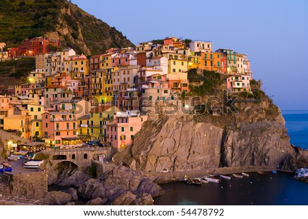 Village of Manarola at sunset, Cinque Terre, Liguria, Italy - stock photo