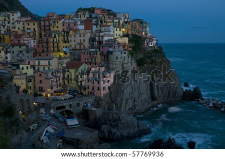 Village of Manarola in the evening, Cinque Terre, Italy