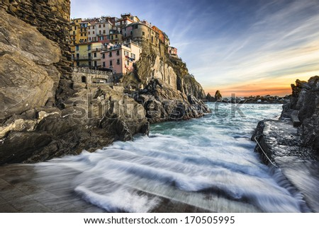 Village of Manarola, Italy on the Cinque Terre - stock photo