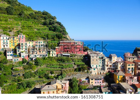 Village of Manarola, on the Cinque Terre coast of Italy - stock photo