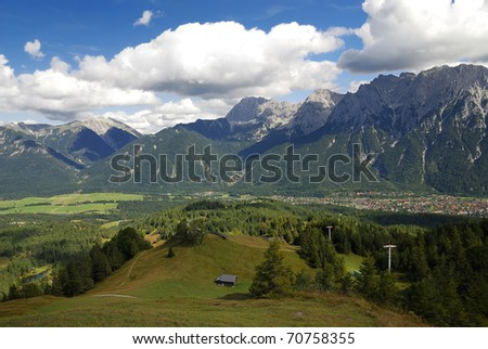 Village of Mittenwald in the Karwendel mountains (Germany, Bavaria)