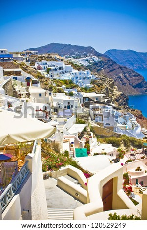 village of Oia at Santorini island in Greece - stock photo