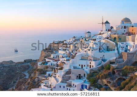 Village of Oia at Twilight, Santorini, Greece - stock photo