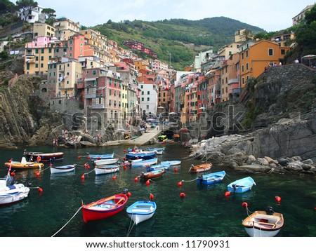 Village of Riomaggiore, Cinque Terre, Italy - stock photo