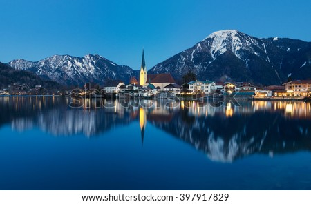 Village of Rottach-Egern at Lake Tegernsee with church and traditional houses at night, Tegernsee, Bavaria, Germany