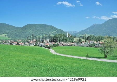 Village of Ruhpolding in Chiemgau at bavarian Alps,upper Bavaria,Germany - stock photo