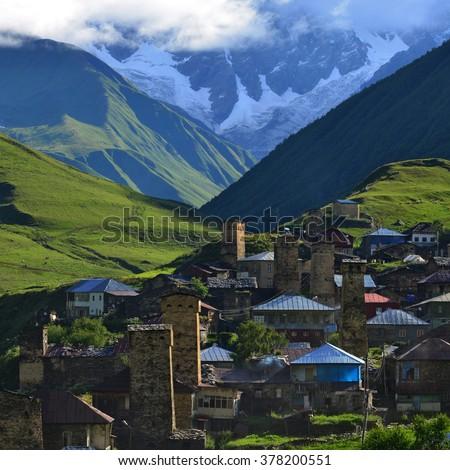 Village of Ushguli. Svanetiya - the mountain area. UNESCO World Heritage Sites. - stock photo