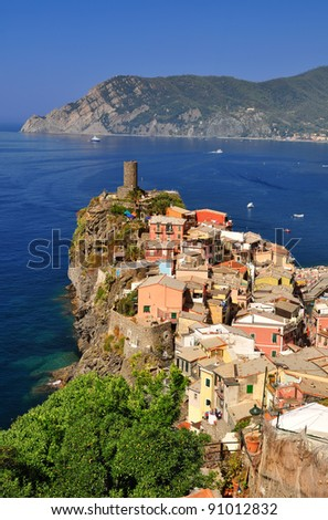Village of Vernazza, in Cinque Terre, Italy
