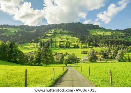 Village of Westendorf, Brixental Valley in Tirolean Alps, Austria, popular summer and winter location for tourism .