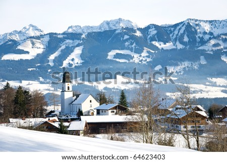 village ofterschwang in the bavarian alps germany - stock photo