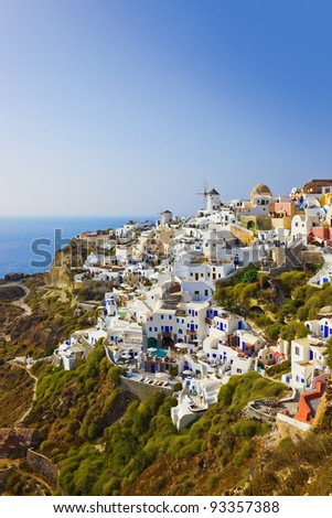 Village Oia at Santorini, Greece - vacation background