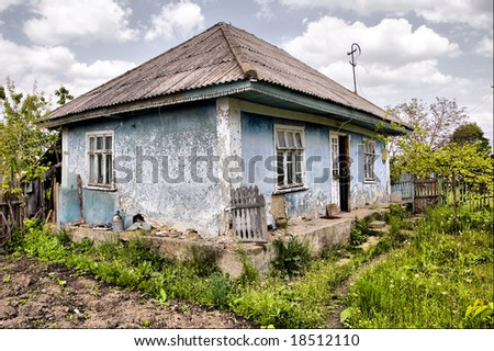 Village old house ruins - stock photo