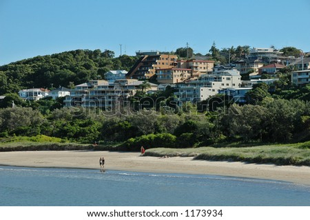 Village On A Hill By The Sea In Australia