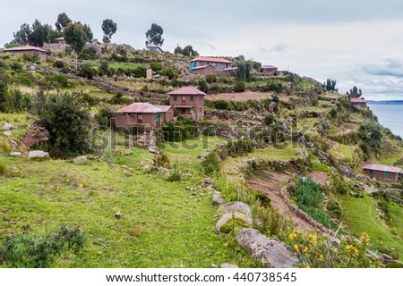 Village on Taquile island in Titicaca lake, Peru - stock photo