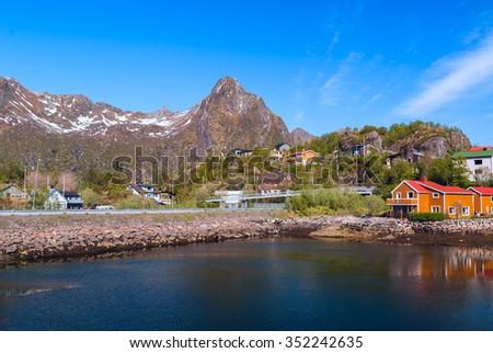 Village on the norwegian island on Lofoten - stock photo