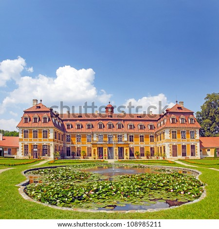 Village Rajec-Jestrebi, National cultural monument State Castle Rajec nad Svitavou in the classical style. South Moravia, Czech Republic - stock photo