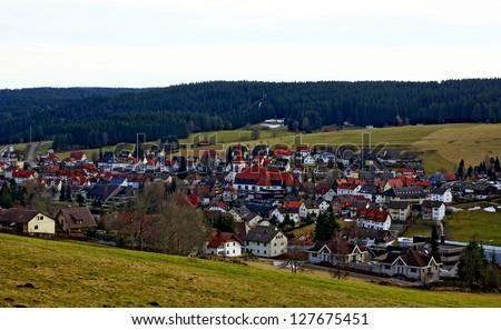 Village Schonach in germany district black-forest - stock photo