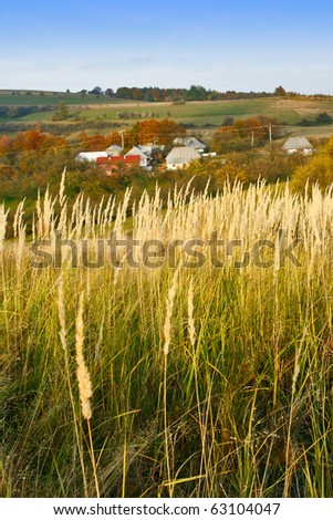 Village seen from the long autumn grass - stock photo