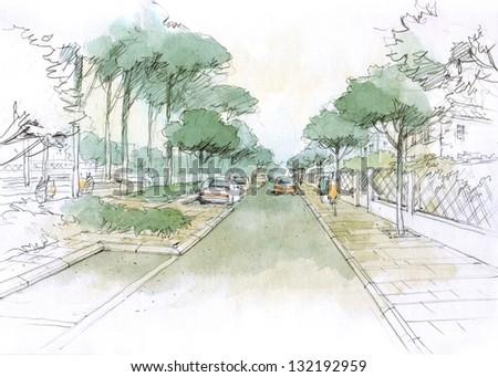 village  street - stock photo