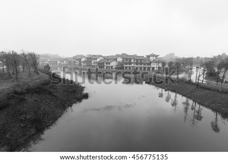 Village View and streams ,at Baodingshan temple in Dazu town, Chongqing, China - stock photo
