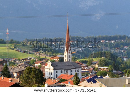 Village with church in Tirol