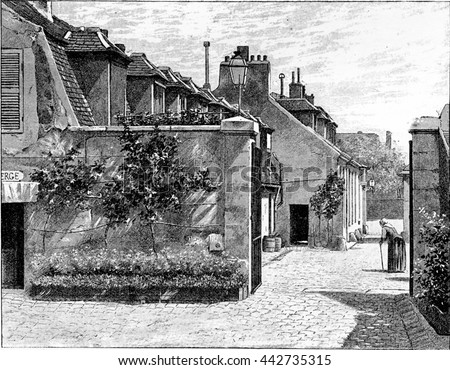 Village within the Pitie-Salpetriere Hospital grounds in Paris, France. Vintage engraving.