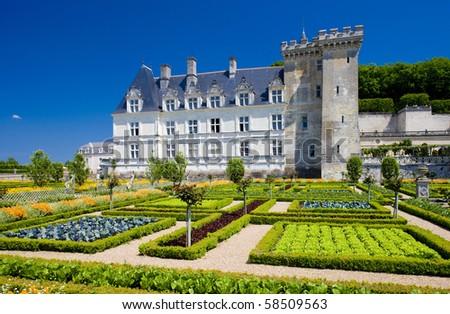 Villandry Castle with garden, Indre-et-Loire, Centre, France - stock photo
