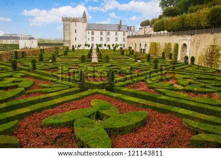 Villandry chateau  in the Loire Valley in  France - stock photo