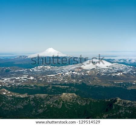 Villarica and Descabezado volcano view from Lanin Summit.  Lanin National Park, - stock photo