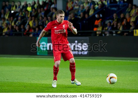 VILLARREAL, SPAIN - 28 APR: Albert Moreno plays at the Europa League semifinal match between Villarreal CF and Liverpool FC at the El Madrigal Stadium on April 28, 2016 in Villarreal, Spain. - stock photo