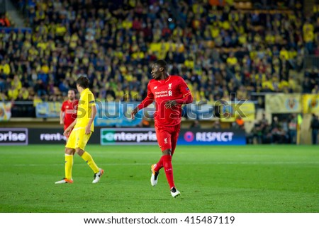 VILLARREAL, SPAIN - 28 APR: Christian Benteke plays at the Europa League semifinal match between Villarreal CF and Liverpool FC at the El Madrigal Stadium on April 28, 2016 in Villarreal, Spain. - stock photo