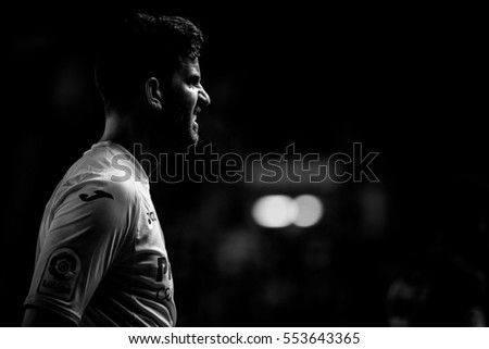 VILLARREAL, SPAIN - JANUARY 8: Musacchio during La Liga soccer match between Villarreal CF and FC Barcelona at Estadio de la Ceramica on January 8, 2016 in Villarreal, Spain