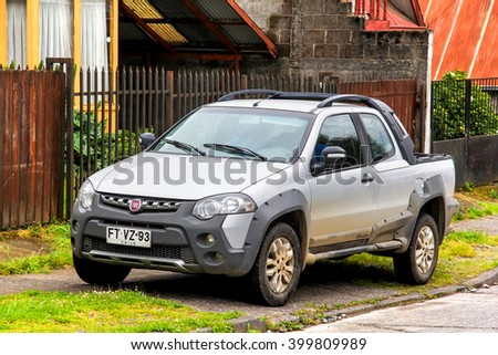 VILLARRICA, CHILE - NOVEMBER 20, 2015: Motor car Fiat Strada Adventure in the city street. - stock photo