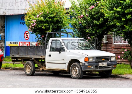 VILLARRICA, CHILE - NOVEMBER 20, 2015: Pickup truck Chevrolet LUV at the town street.