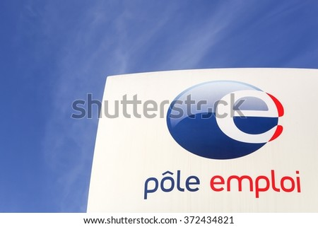 Villefranche, France - January 24, 2016: Pole emploi is a French governmental agency which registers unemployed people, helps them find jobs and provides them with financial aid - stock photo
