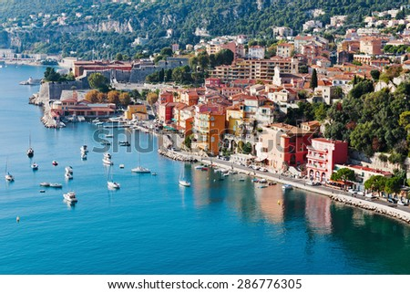 VILLEFRANCHE, FRANCE - OCTOBER 29, 2014: Panoramic view of Cote d'Azur near the town of Villefranche-sur-Mer