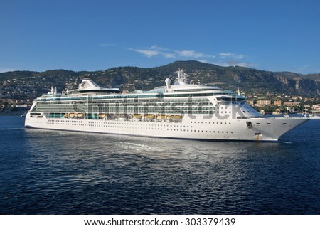 VILLEFRANCHE, FRANCE - SEPTEMBER 5: Cruise ship Brilliance of the Seas of Royal Caribbean International moored in Villefranche port on September 5, 2011 in Villefranche, France.