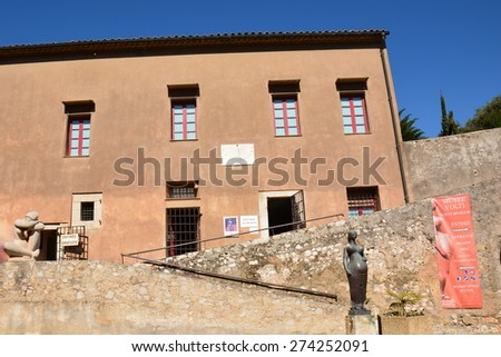 VILLEFRANCHE/MER, FRANCE-APRIL 29: Volti museum shown on april 29, 2015 in Villefranche/mer, France. In the citadel, the museum shelters bronze women statues in sensual curves, of the sculptor Volti. - stock photo