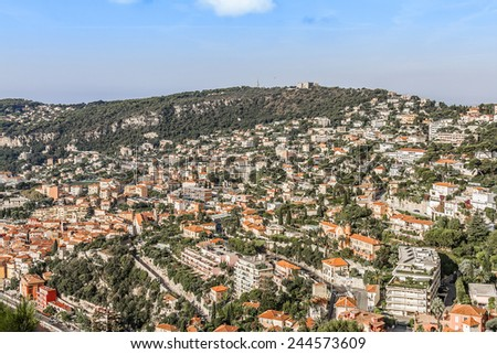 Villefranche-sur-Mer is luxury resort on the French Riviera at Mediterranean Sea. Cote d'Azur. France. Villefranche-sur-Mer adjoins the city of Nice to the east and 10 km south west of Monaco. - stock photo