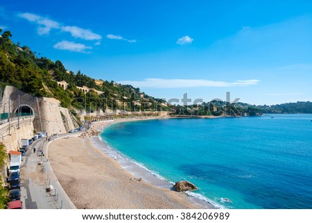 Villefranche sur mer, Mediterranean Sea, Cote d'Azur, France - stock photo