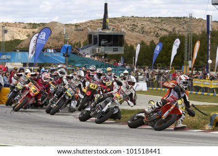 VILLENA, SPAIN - MAY 29: Start of race of in the Spanish championship of supermotard on May 29, 2012, Villena Spain - stock photo