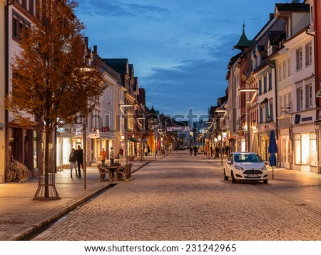 VILLINGEN, GERMANY - NOVEMBER 09 2014: German City of Villingen. Old Town in the Evening in Baden Wurttemberg