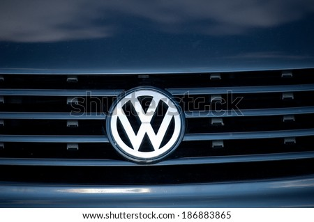 VILNIUS-APR 12: Close-up of VW logo on Apr. 12, 2014 in Vilnius, Lithuania. Volkswagen is a German automobile manufacturer and the biggest German automaker and the third largest automaker in the world - stock photo