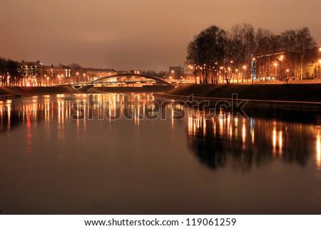 Vilnius at night, river Neris - stock photo