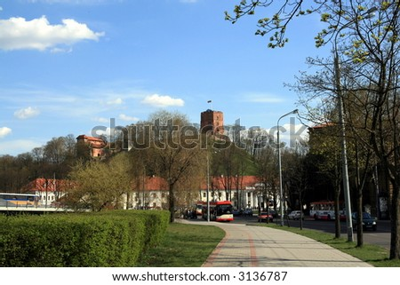 Vilnius - capital of Lithuania, view to the Gediminas Tower.