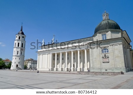 Vilnius Cathedral and belfry tower in the Cathedral square, central Vilnius, the capital of Lithuania - stock photo