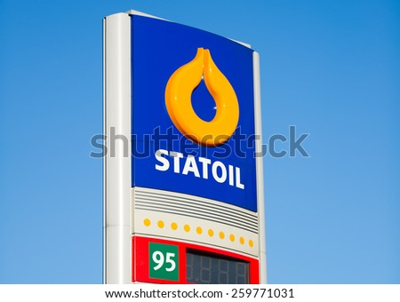 VILNIUS - FEB 17: Statoil petrol station logo on Feb. 17, 2015 in Vilnius, Lithuania. Statoil ASA is a Norwegian multinational oil and gas company with operations in thirty-six countries. - stock photo