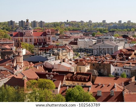 Vilnius hall place - center of old capital of Lithuania. - stock photo