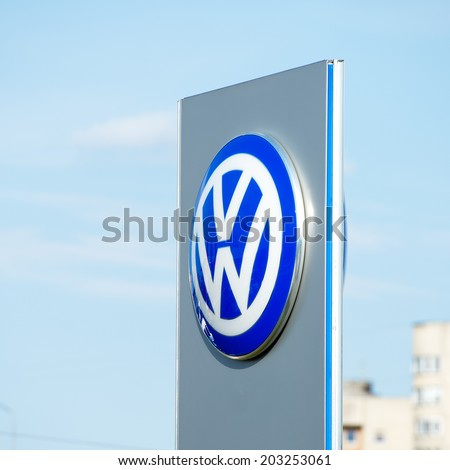 VILNIUS-JULY 6: VW dealership logo on July 6, 2014 in Vilnius, Lithuania. Volkswagen is a German automobile manufacturer and the biggest German automaker and the third largest automaker in the world. - stock photo